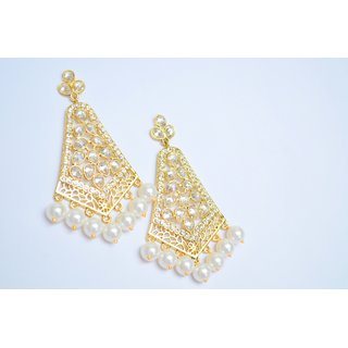 Reverse American Diamond EarRing with Pearls