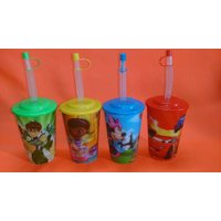 Combo Of 2 Kidstumbler With Straw And Lid ( 3D Effect Cartoon Design )