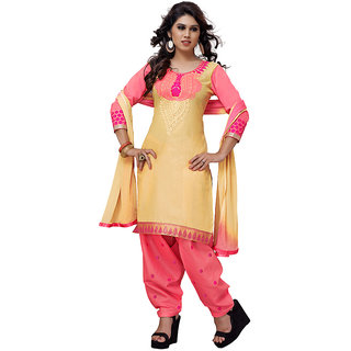 Dk2 Yellow And Orange Color Embroidery Work Dress Material (Unstitched)