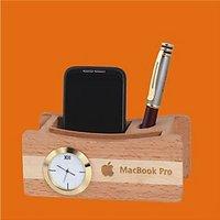 D-4 Personalized Laser Engraved Desktop Wooden Pen Stand