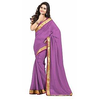 Triveni Purple Chiffon Plain Saree With Blouse