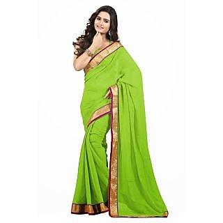 Triveni Green Chiffon Plain Saree With Blouse