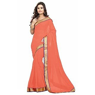 Triveni Orange Chiffon Plain Saree With Blouse
