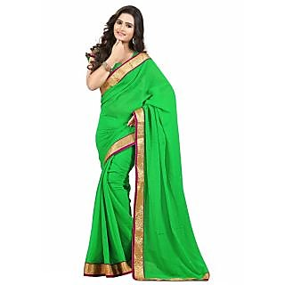 Triveni Green Chiffon Self Design Saree With Blouse