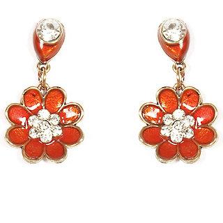 Urthn Pretty Floral Design Earring in Orange- 1301723