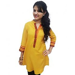 Ladies Beautiful Cotton Kurti Yellow