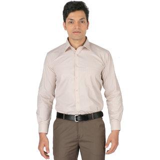 Zido Full Sleeves Macho Beige Striped Polyster Cotton Formal Shirt