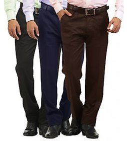 Inspire Pack Of 3 Slim Fit Formal Trousers (Black, Blue  Coffee)