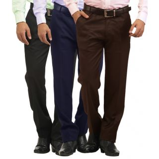 Inspire Pack Of 3 Slim Fit Formal Trousers (Black, Blue  Coffee)