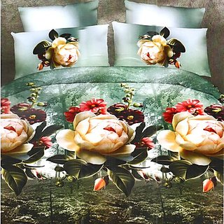 Beautiful Green Polyester Double Bedsheet With Huge Floral Print