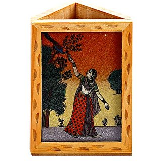 Gemstone Dust Accented Lady Figure Wooden Pen Holder