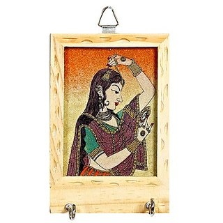 Wood Genstone Kye Hanger Accented With Indian Shringar Painting