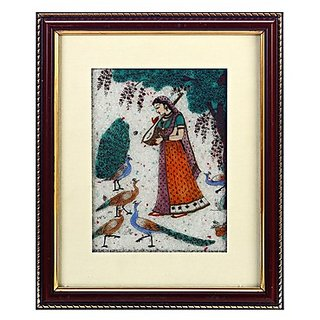 Dark Wood Mod Gemstone Dust Ragini With Peacock Motif Wall Painting
