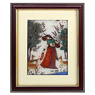 Dark Wood Gemstone Dust Ragini With Peacock Motif Wall Painting