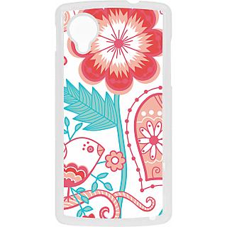 Ff (Love Bird) White Plastic Plain Lite Back Cover Case For Google Nexus 5