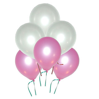 GrandShop 50191 Balloons Metallic HD Pink & White (Pack of 50)