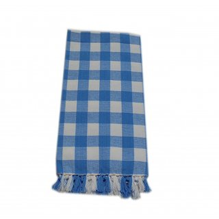 Tidy White  Blue Colour Checked Design Bath Towel