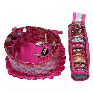 Make Up Kit & Single Bangle Box In Brocade 2 Pcs Combo (KI5212)