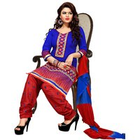 Florence Red And Blue Chanderi Embroidered Salwar Suit Dress Material