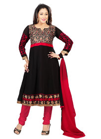 Florence Black Arzoo Chiffon Embroidered Suit (SB-2134-APR) (Unstitched)