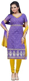 Florence Yellow And Purple Chanderi Embroidered Salwar Suit Dress Material (Unstitched)