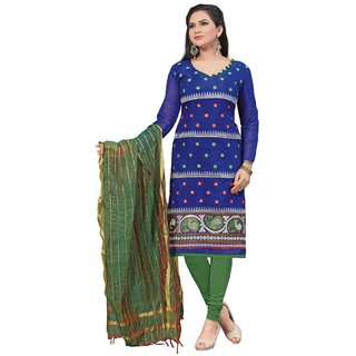 Florence Blue Dairy milk  Chanderi Cotton Embroidered Suit (SB-2336)