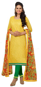 Florence Yellow Laher Chanderi Cotton Embroidered Suit (SB-2495) (Unstitched)