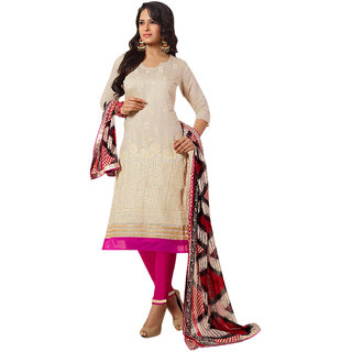 Florence Pink And Cream Chanderi Embroidered Salwar Suit Dress Material (Unstitched)