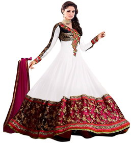 Florence White Raja Tex  Georgette Embroidered Suit (SB-2512) (Unstitched)
