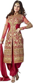 Florence Maroon Embroidered Georgette Salwar Suit Material (Unstitched)