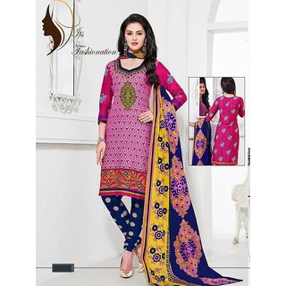 Awesome Colour Combination Of Royal Pink And Blue In Printed Dress Material