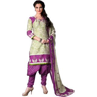 Florence Purple  Green Ananya vol-3 Cotton Printed Suit (SB-2664) (Unstitched)