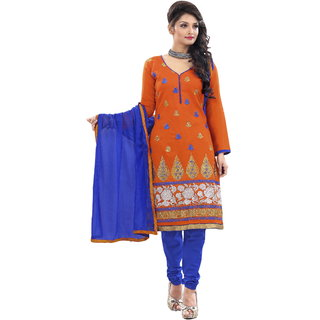 Florence Orange RASILI Chanderi Cotton Embroidered Suit (SB-2393)