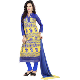 Florence Yellow  Blue Jhalak Cotton Embroidered Suit (SB-2057-APR)