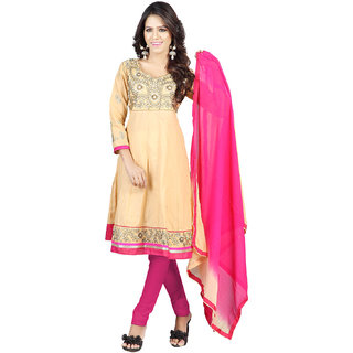 Florence Pink And Beige Cotton Embroidered Salwar Suit Dress Material (Unstitched)