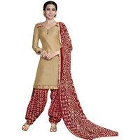 Florence Beige Rani Prints - Patiyala-8 Poly cotton Embroidered Suit (SB-2405)
