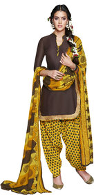 Florence Brown Rani Prints - Patiyala-8 Poly cotton Embroidered Suit (SB-2403) (Unstitched)