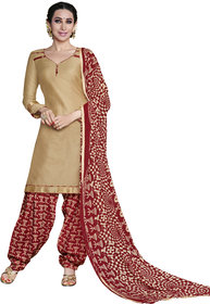 Florence Beige Rani Prints - Patiyala-8 Poly cotton Embroidered Suit (SB-2405) (Unstitched)