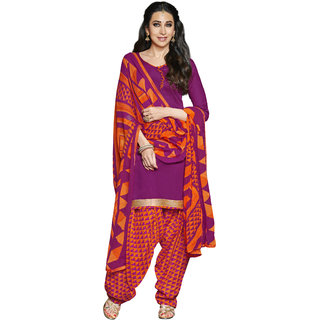 Florence Purple Rani Prints - Patiyala-8 Poly cotton Embroidered Suit (SB-2407) (Unstitched)