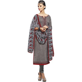 Florence Grey V- Dazzle Cambric cotton Printed Suit (SB-2696) (Unstitched)