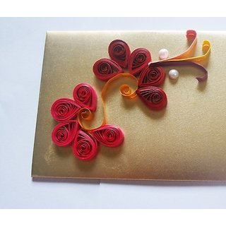 Quilling Paper Decorative Envelope Golden Pack Of 2