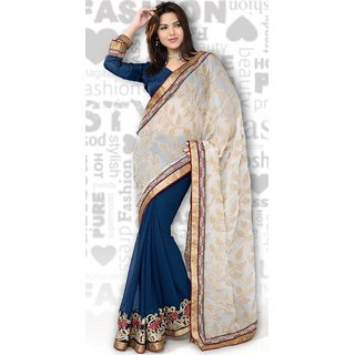 Blue and Off White Georgette and Viscouse Saree