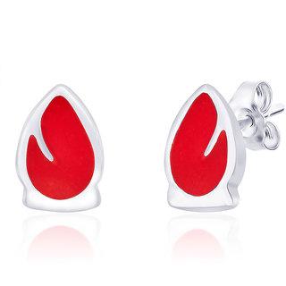Taraash Red Enamel Drop Shape 925 Sterling Silver Stud Earring For Women Cber203I-01