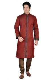Sanwara MaroonBrown Printed Long Kurta  Pyjama Sets For Men