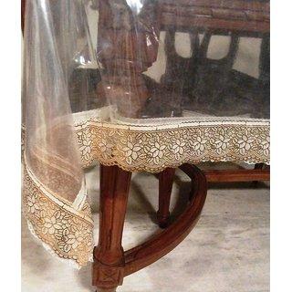 ans dinning table cover transperent sheet golden border 6/8 seater cover