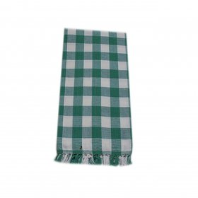 Xydecor Green  White Colour Checked Design Cotton Bath Towel