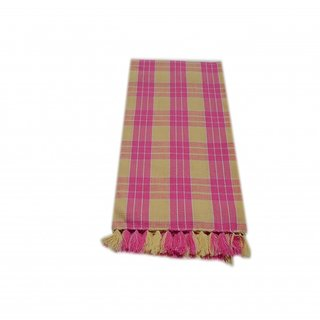 Tidy Yellow & Pink Colour Checked Design Cotton Bath Towel