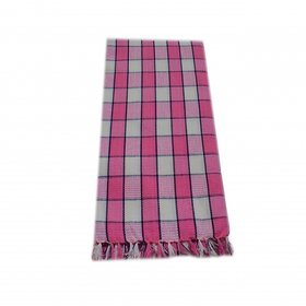 xydecor Pink  White Colour Checked Design Cotton Bath Towel