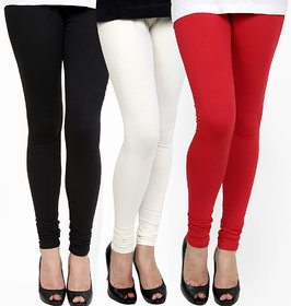 Ashish Fabrics Multicolor Pack of 3 Cotton Lycra Plain Leggings (Pack of 3 Leggings)