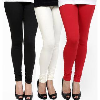 Ashish Fabrics Multicolor Pack of 3 Cotton Lycra Plain Leggings (Pack of 3 Leggings)